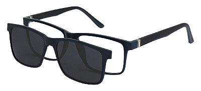 Armação Óculos Receituário e Sol 6003 Clipon com 1 Lente Polarizado Azul