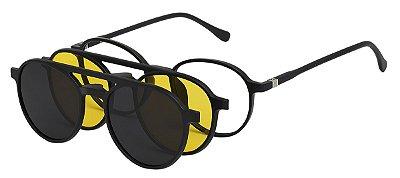 Armação Óculos Receituário e Sol 2309 Clipon Preto com 2 Lentes Polarizado