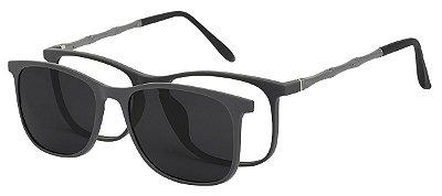 Armação Óculos Receituário e Sol 6006 Clipon Cinza com 1 Lente Polarizado