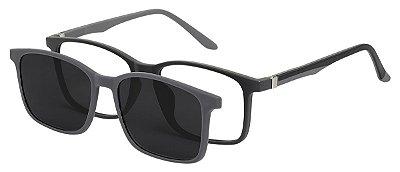 Armação Óculos Receituário e Sol Clipon Com 1 Lente AT 6010 Preto/Cinza