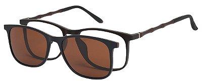 Armação Óculos Receituário e Sol 6006 Clipon Marrom com 1 Lente Polarizado