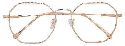 Armação Óculos Receituário AT 9285 Dourado Hexagonal