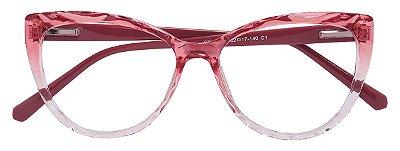 Armação Óculos Receituário AT 5027 Mosaico Redondo Rosé Degrade