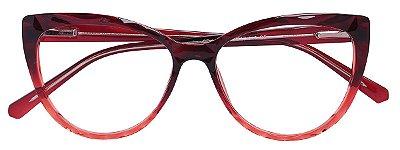 Armação Óculos Receituário AT 5027 Mosaico Redondo Vermelho Degrade