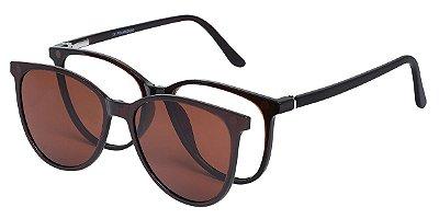 Armação Óculos Receituário e Sol Clipon Com 1 Lente AT 5009 Marrom