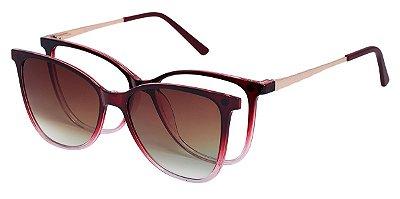 Armação Óculos Receituário e Sol Clipon Com 1 Lente AT 5004 Vermelho Degradê