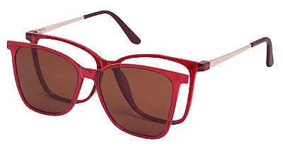 Armação Óculos Receituário e Sol Clipon Com 1 Lente AT 5001 Vermelho Transparente