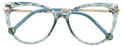 Armação Óculos Receituário AT 5596 Mosaico Redondo Azul Transparente