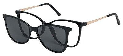 Armação Óculos Receituário e Sol Clipon Com 1 Lente AT 5004 Preto