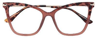 Armação Óculos Receituário AT 2106 Marrom Transparente