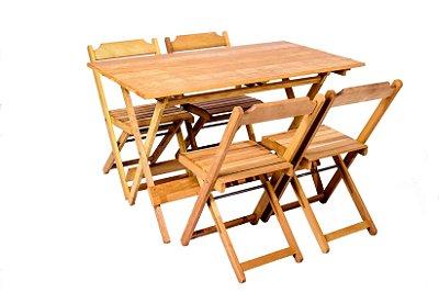 Conjunto de Mesa 120x70 e 04 Cadeiras Dobráveis Itaúba