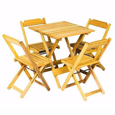 Conjunto de Mesa e 04 Cadeiras Dobráveis Itaúba