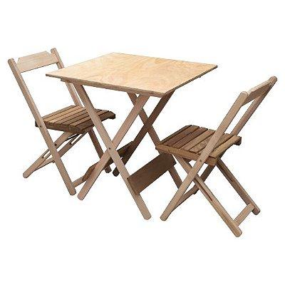 Conjunto dobrável de uma mesa 70x70 Tampo Liso com 02 Cadeiras