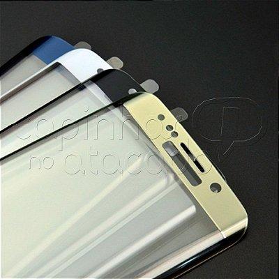 Película de Vidro Temperado Curvada com Moldura Colorida para Samsung S7