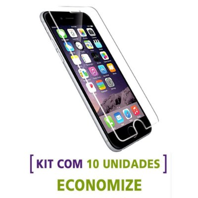 Kit com 10 Películas de Vidro Temperado para Celulares da Apple / iPhone