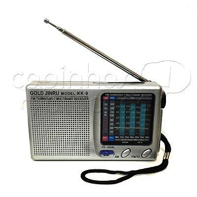 Rádio Portátil AM/FM - Gold 9 Band - Cores Sortidas