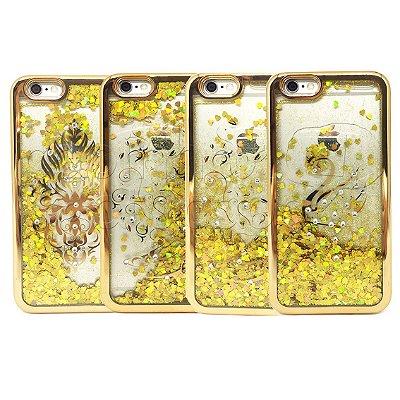 Capa de Silicone Borda Metálica Dourada Liquid Glitter