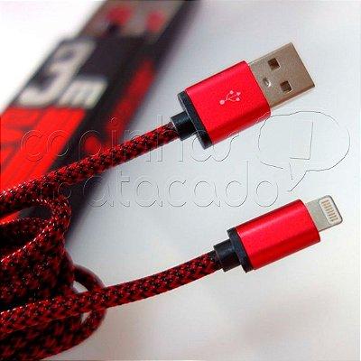 Cabo de Dados Corda 3m para iPhone 5/6 - Linha Premium - LDNIO - Cores Sortidas