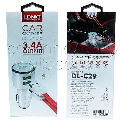 Kit Carregador Veicular Dual USB 3.4A para iPhone 5/6 - Linha Premium - LDNIO