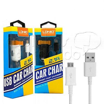 Kit Carregador Veicular 2.1A Micro USB / V8 - Linha Premium - LDNIO - Cores Sortidas