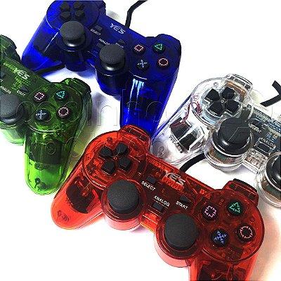 Controle Translúcido com Fio para PlayStation 2 - Cores Sortidas