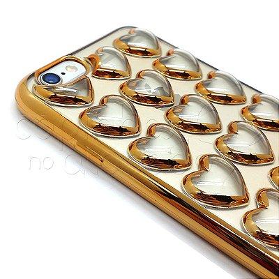 Capa de Silicone Corações Cristal - Cores Sortidas