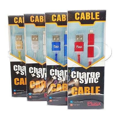 Cabo Duplo iPhone 5/6 e Micro USB - Plugx - Cores Sortidas