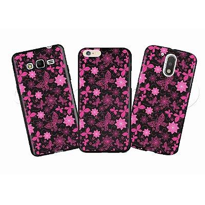 Capa Personalizada Premium BLACK - Flores e Borboletas Rosa