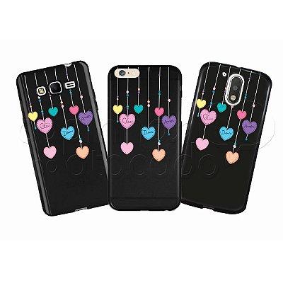 Capinha Personalizada Premium BLACK - Mobile Corações