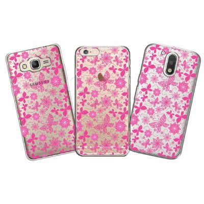 Capa Personalizada Premium - Flores e Borboletas Rosa