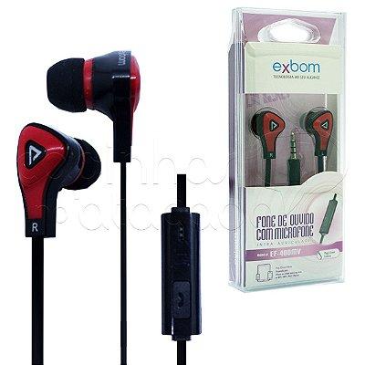Fone de Ouvido Intra-Auricular com Microfone Exbom EF-400MV - Cores Sortidas