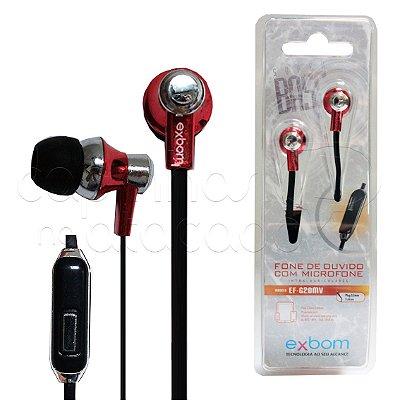 Fone de Ouvido Intra-Auricular com Microfone Exbom EF-G20MV - Cores Sortidas