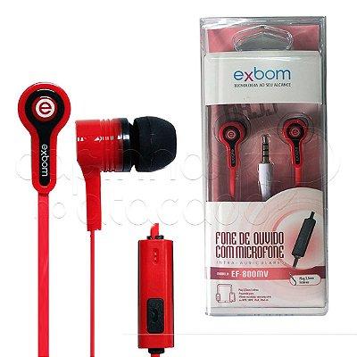 Fone de Ouvido Intra-Auricular com Microfone Exbom EF-800MV - Cores Sortidas