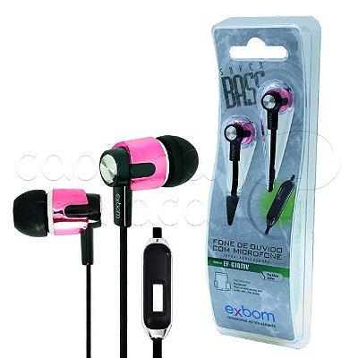 Fone de Ouvido Intra-Auricular com Microfone Exbom EF-G10MV - Cores Sortidas