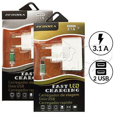 Carregador de Parede Fast Charging Ecooda 2USB 3.1A - Cores Sortidas