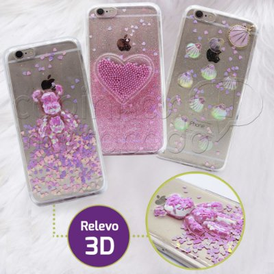 Capinha de Silicone 3D Shine Girl - Estampas Sortidas
