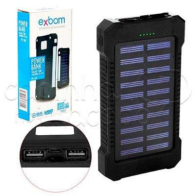 Carregador PowerBank Solar Com Lanterna - Exbom