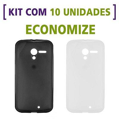 Kit com 10 Capas de Silicone TPU Transparente ou Fumê para Motorola Moto X 1ª Geração