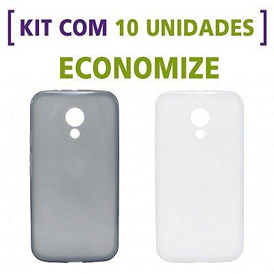 Kit com 10 Capas de Silicone TPU Transparente ou Fumê para Motorola Moto G 2ª Geração