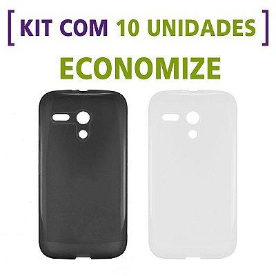 Kit com 10 Capas de Silicone TPU Transparente ou Fumê para Motorola Moto G 1ª Geração