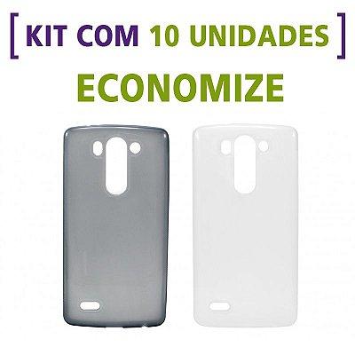 Kit com 10 Capas de Silicone TPU Transparente ou Fumê para LG G3 Mini