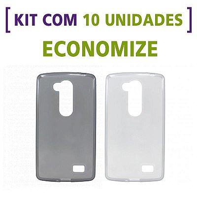 Kit com 10 Capas de Silicone TPU Transparente ou Fumê para LG G2 Lite D295