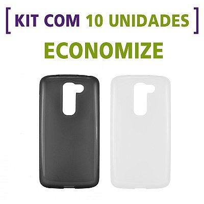 Kit com 10 Capas de Silicone TPU Transparente ou Fumê para LG G2 Mini