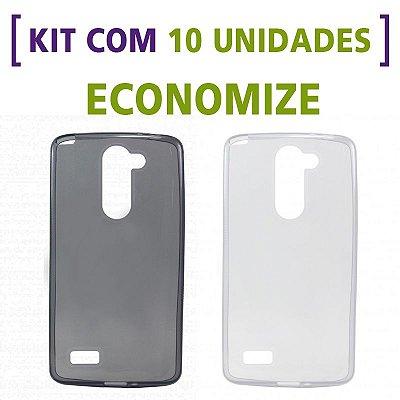 Kit com 10 Capas de Silicone TPU Transparente ou Fumê para LG Prime D337