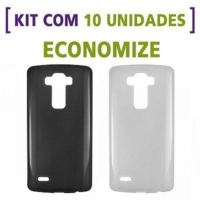 Kit com 10 Capas de Silicone TPU Transparente ou Fumê para LG G3