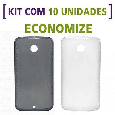 Kit com 10 Capas de Silicone TPU Transparente ou Fumê para Motorola Moto X 2ª Geração
