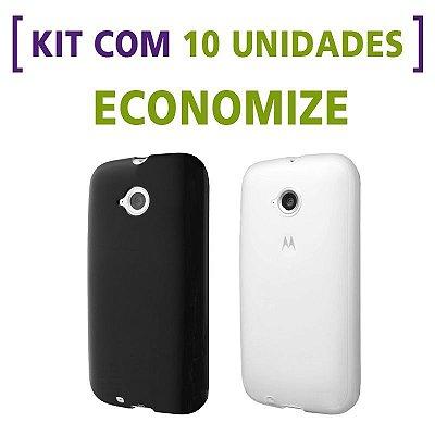 Kit com 10 Capas de Silicone TPU Transparente ou Fumê para Motorola Moto E 2ª Geração