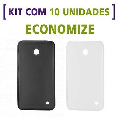 Kit com 10 Capas de Silicone TPU Transparente ou Fumê para Nokia Lumia 630