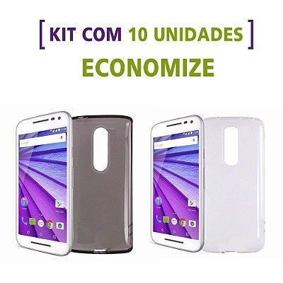 Kit com 10 Capas de Silicone TPU Transparente ou Fumê para Motorola Moto G 3ª Geração