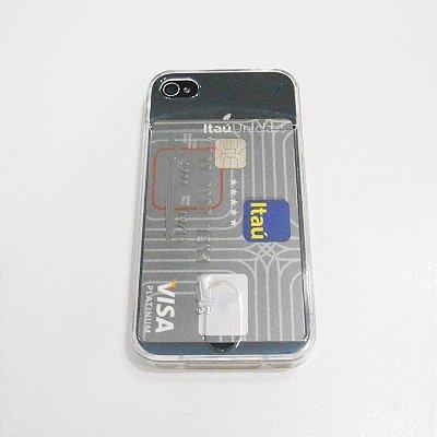 Capa de Silicone Transparente com Porta Cartão para iPhone 4 / 4s